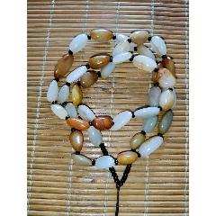 新疆和田玉籽料随形珠吊坠挂绳脖挂青白玉手编项链绳