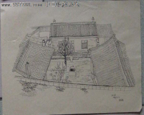 美院学生速写画稿——米脂北山下(钢笔画)
