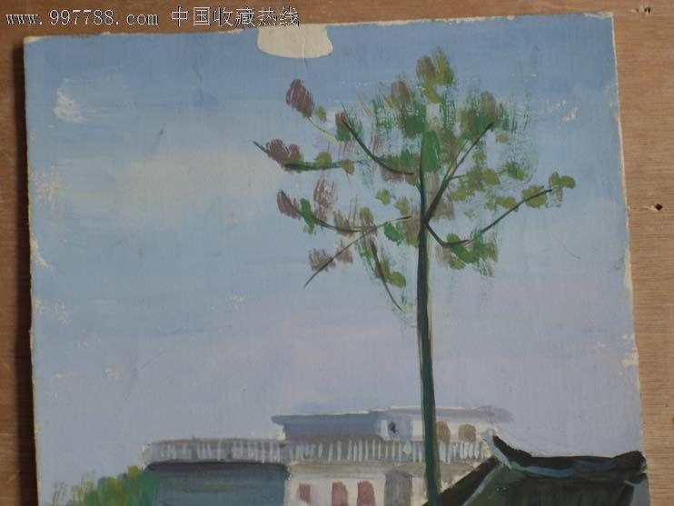 画纸-原创水彩画城市小镇风景,水粉/水彩