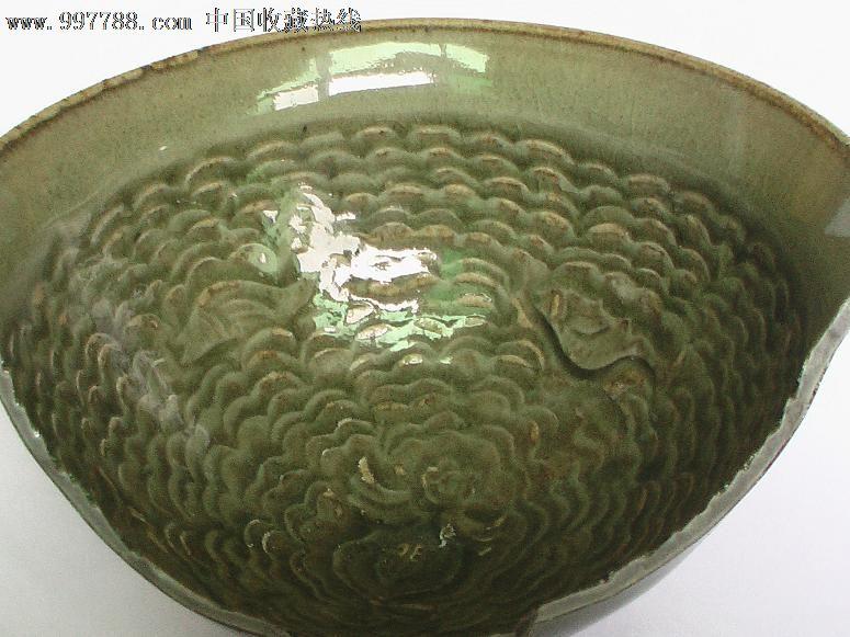 耀州窑;五代,北宋时期;海水,鱼纹剃刻青釉碗(已转让,勿拍)图片