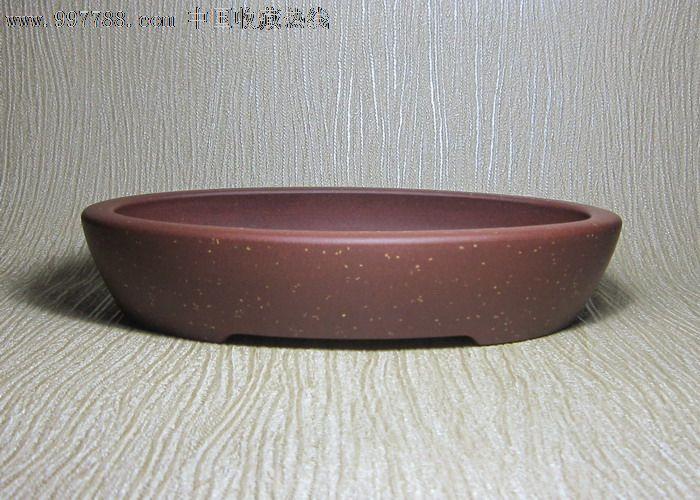 宜兴紫砂花盆 王爱国制底槽清铺砂椭圆形盆