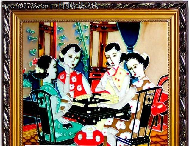 立体画欧式风情装饰陶瓷瓷板画家居装饰摆件墙壁画人物打麻将