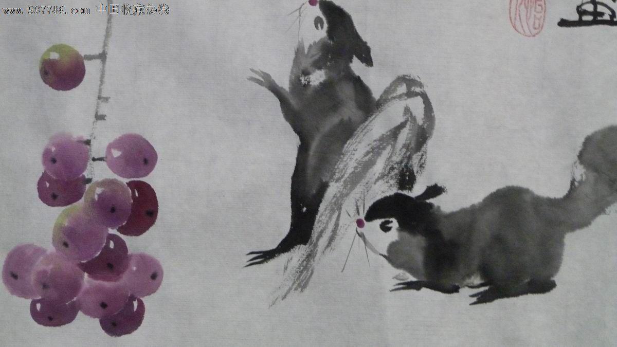 写意中国画松鼠《硕果累累》-花鸟国画原作--se-零售