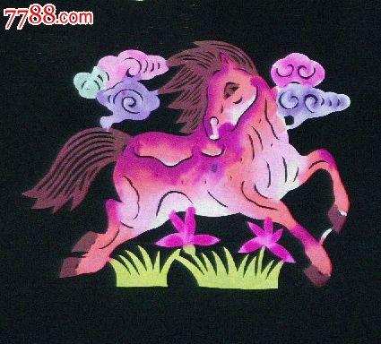 彩色手绘马