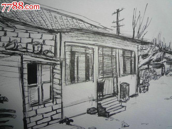 "wpy-美院流出的一幅功力极好的""农家小屋""素描原作,有"