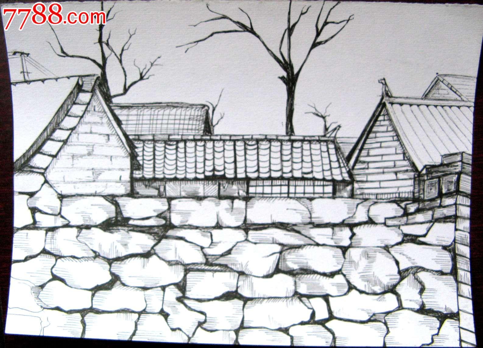 素描风景建筑画:房屋