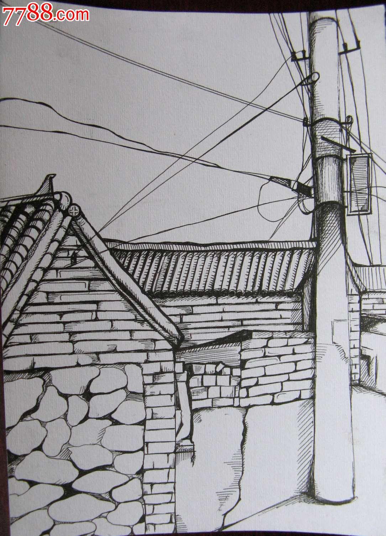 素描风景建筑画:大宅房屋与线杆图片