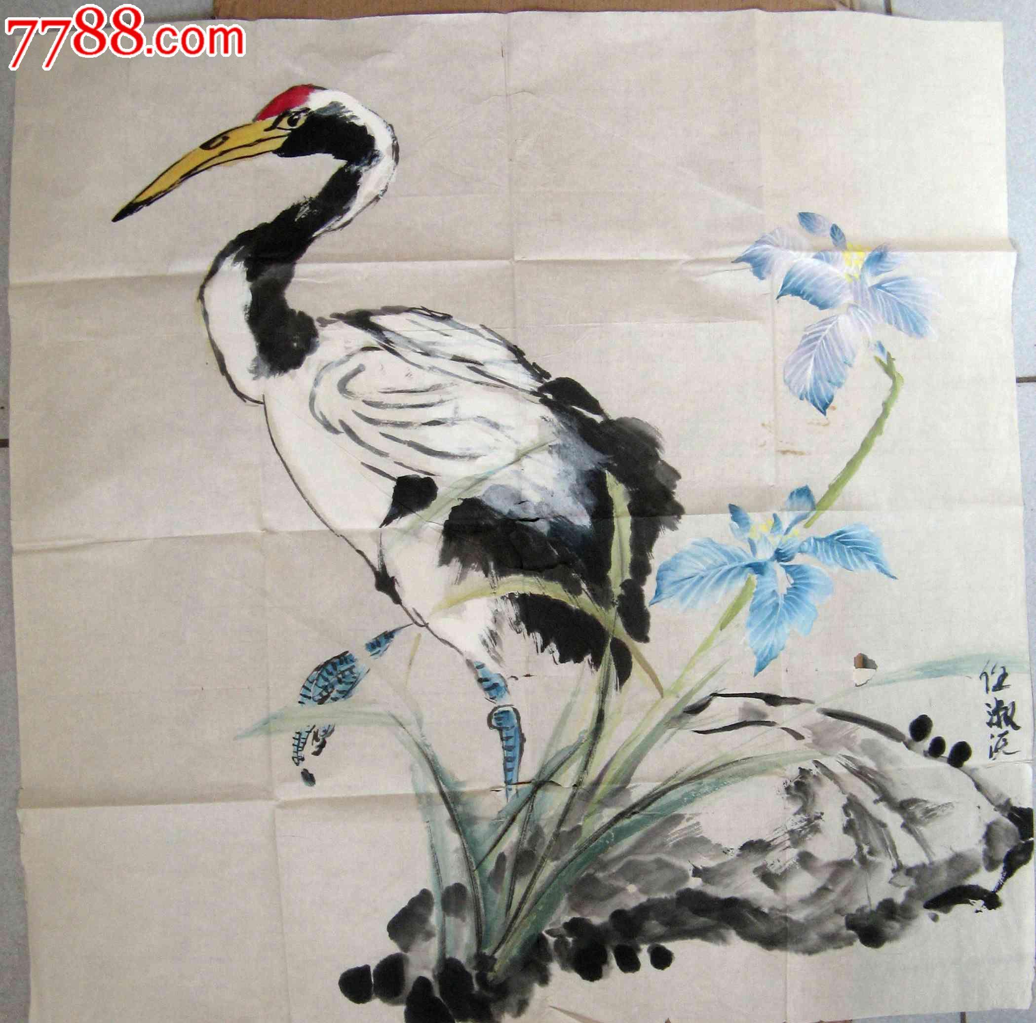 隽秀亮丽的四尺斗方仙鹤画:祥和长寿图