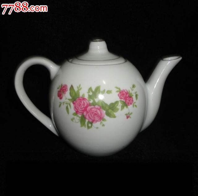 景德镇文革瓷器厂货陶瓷手绘金边牡丹执耳壶茶壶文革收藏