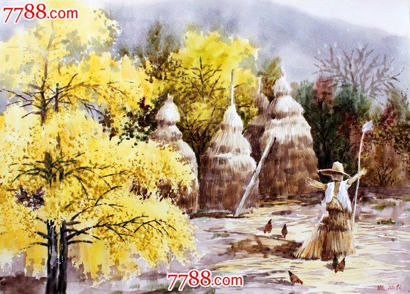 【国画字画】名家作品武朝利水彩画风景画秋后的田野wzl014
