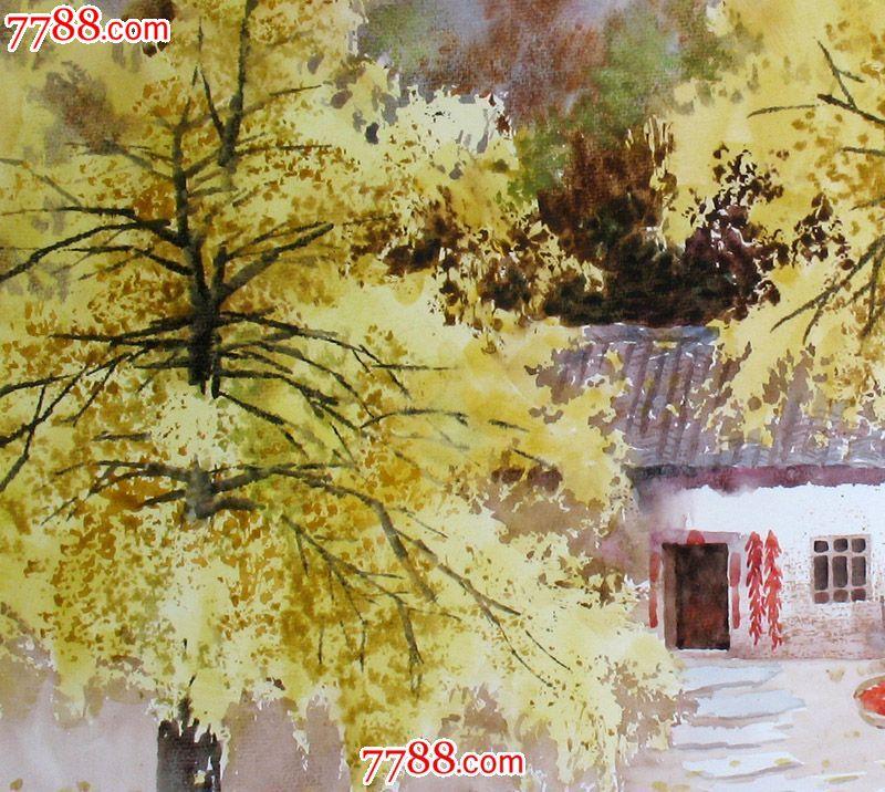 名家作品武朝利水彩画风景画写实金色家园收藏送礼装饰wzl042