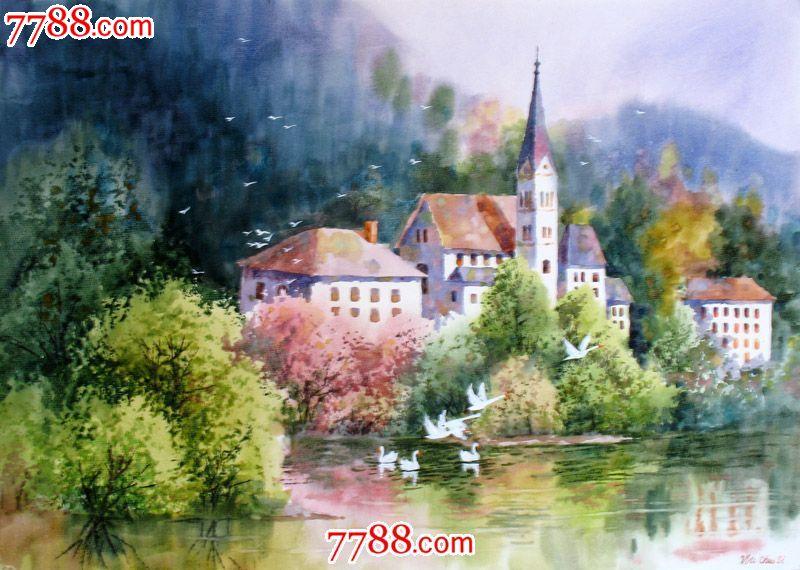 名家作品武朝利水彩画风景画写实瑞士风光收藏送礼装饰wzl035