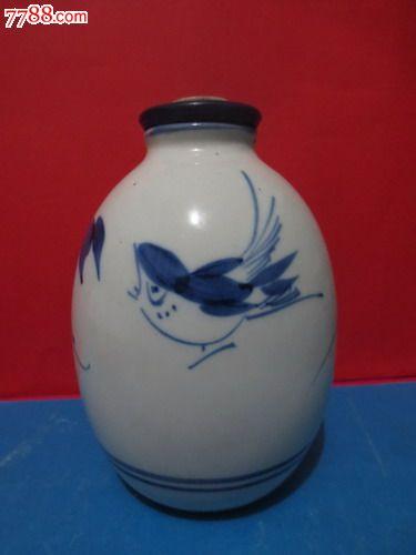 艺术酒瓶收藏-精美陶瓷手绘图案黑土地酒酒瓶【全品】