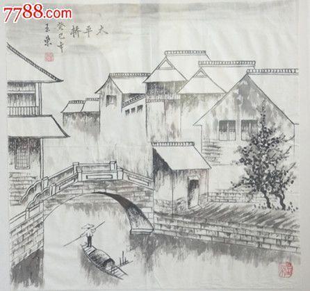 小桥的效果图手绘