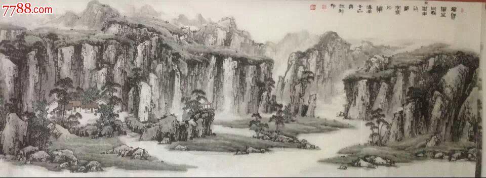 名家画廊推荐画家郑守宽巨幅山水画作品