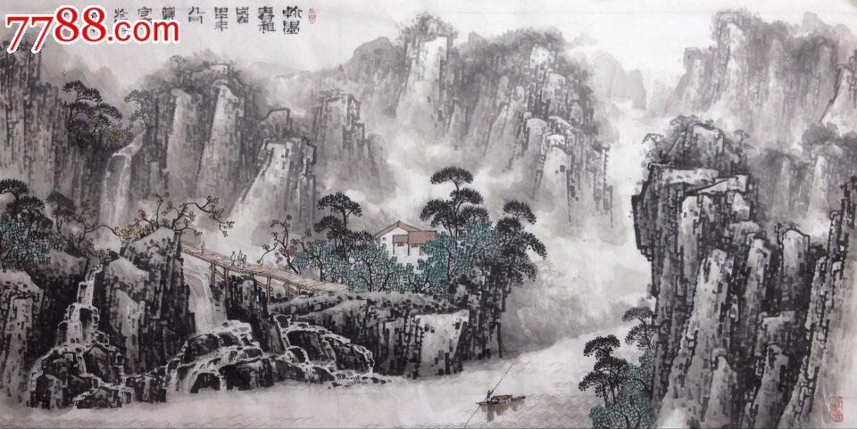 名家郑守宽八尺巨幅山水画水墨国画美术馆推荐
