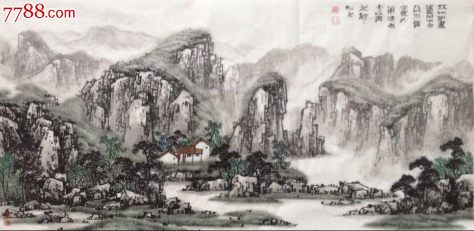 著名画家郑守宽六尺横幅水墨国画山水画美术馆推荐收藏