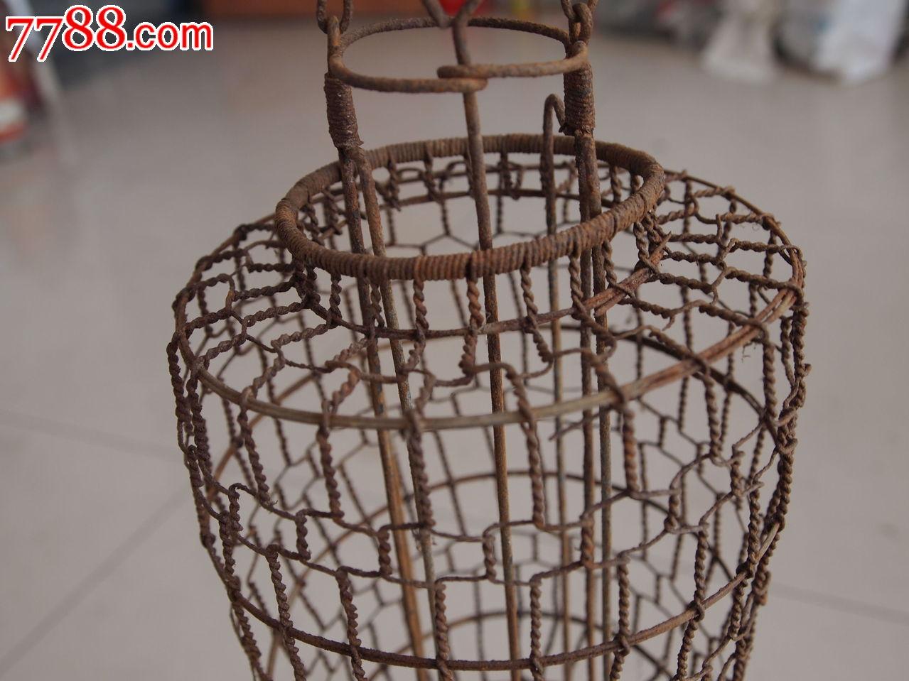 民国铁丝编织灯笼架子配原装老包浆木挑