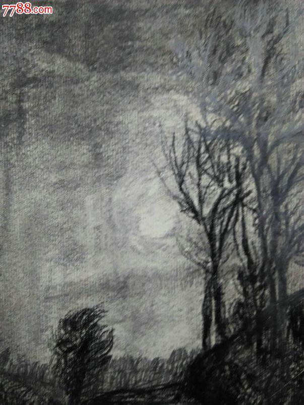 *fwpe0-佚名风景老素描原作-晚秋,画家构图超好,刻画极其细腻,精品