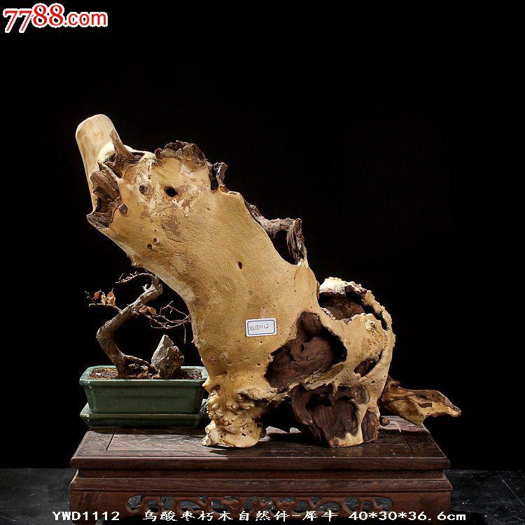 宜居品阁根雕木雕根艺摆件天然乌酸枣朽木自然件犀牛ywd1112