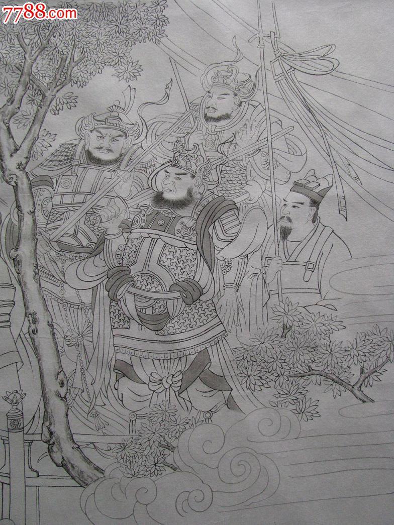 《朝元仙仗图》工笔画白描手绘原稿,仙道人物,又名八十七神仙图,87