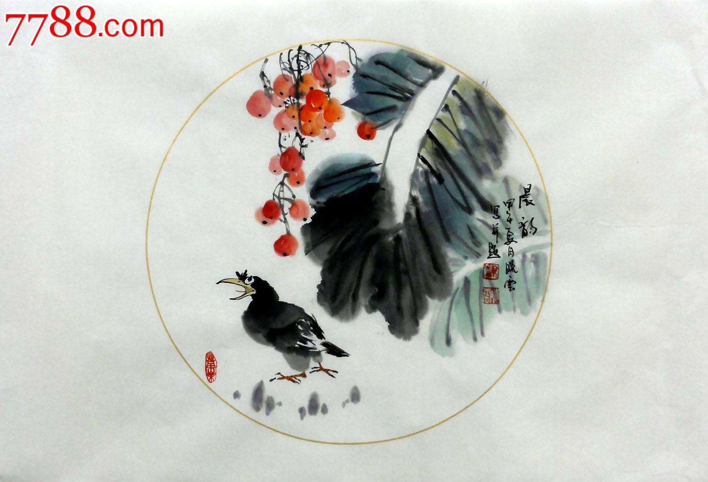室内装饰画梁晓云四尺三开横幅纯手绘国画花鸟作品【晨韵】p7337