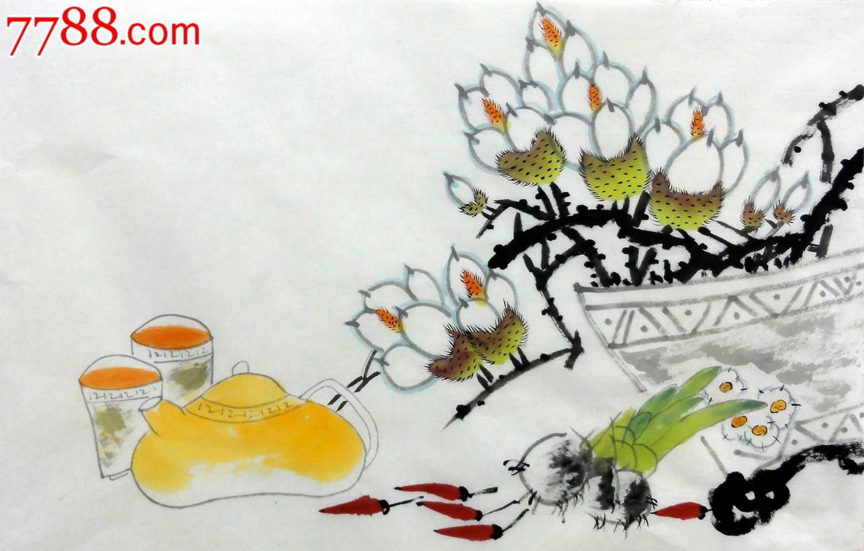 室内装饰装饰装饰张波无款四尺三开横幅纯手绘花鸟作品p7349