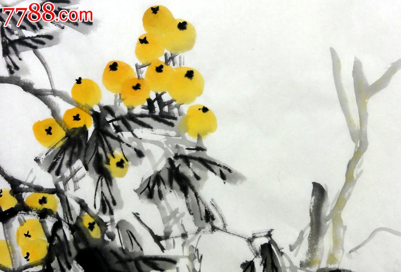 l-p7402王林四尺斗方花鸟装饰国画画芯作品枇杷【高枝