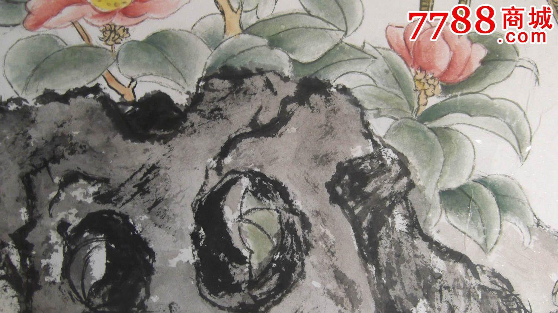 国画仙鹤图,工笔的,还带竹子和牡丹,石头草,1986年画