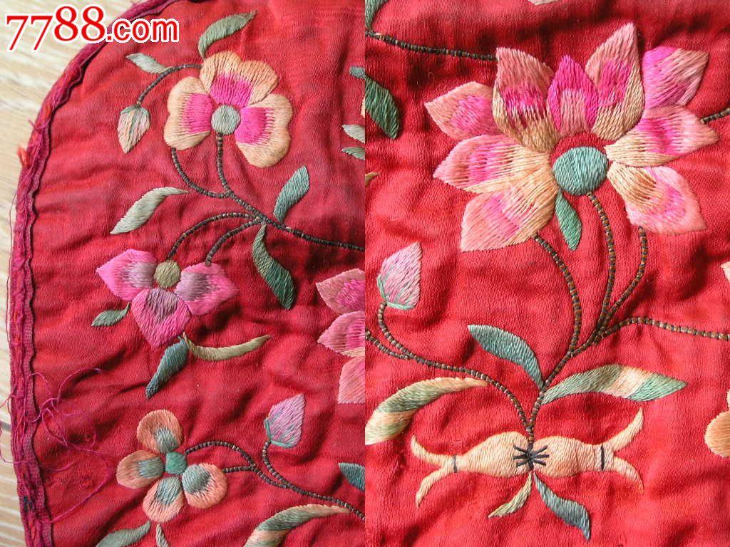 刺绣收藏150220-边疆早期手工绣花卉人物红底枕片绣片图片