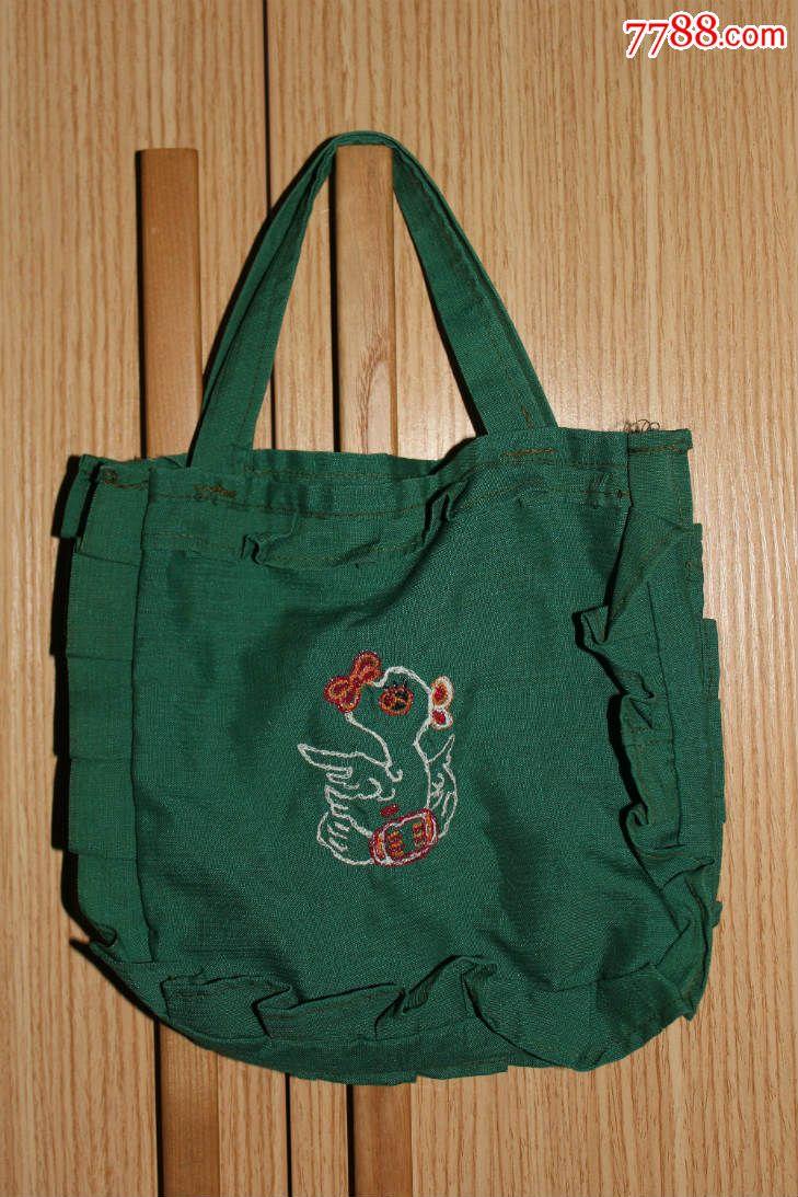 纯手工刺绣制作动物图案手提布包一件