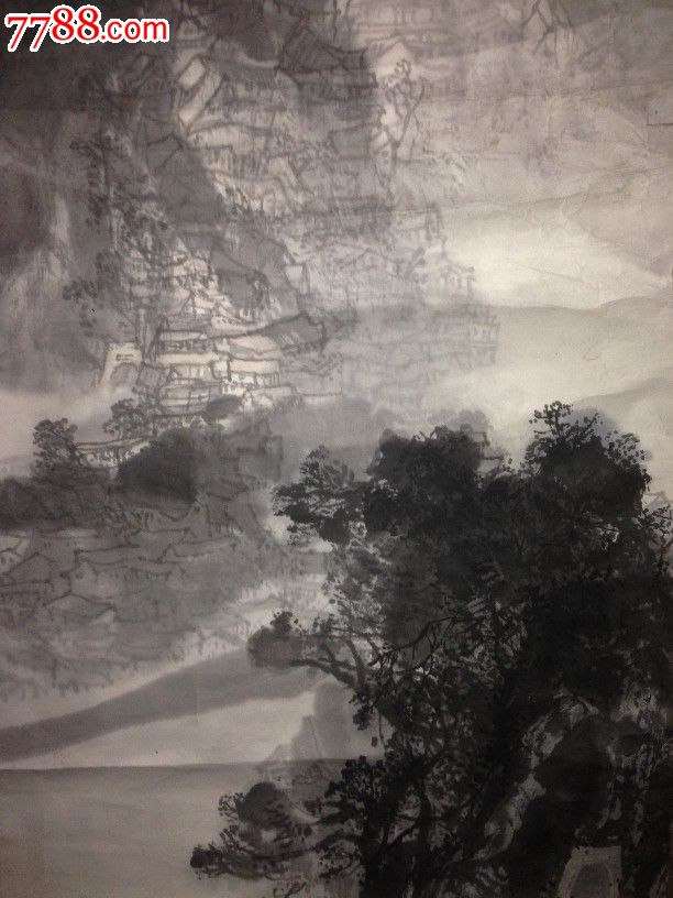 重庆美协理事.陈道学,水墨画《山城展新图》