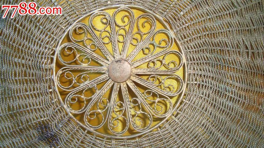 精美铜隔热垫(手工编织,螺纹铜丝镀金,中心花瓣.直径230毫米,244克)