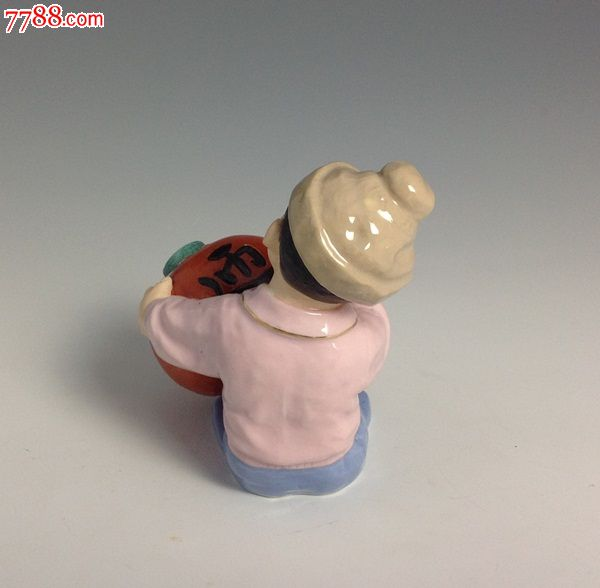 名家美术陶瓷作品《小孩画灯笼》