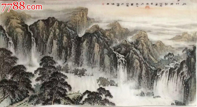 名家画廊推荐著名画家郑守国画横幅六尺山水画日出松树