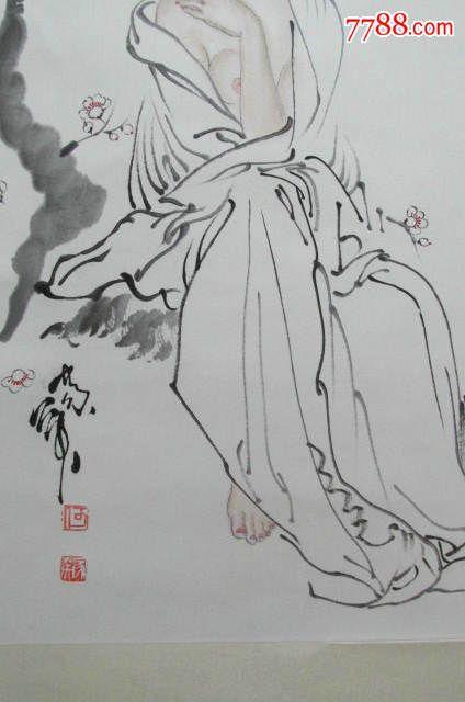 """天津美院教授何家英素描设色人物画""""花自飘零"""",女子花"""