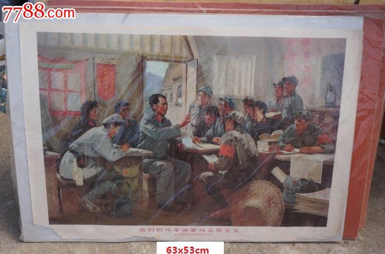 文革红色宣传画年画海报我们的斗争需要马克思主义