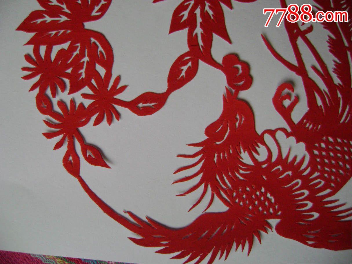 凤凰戏牡丹纯手工剪纸