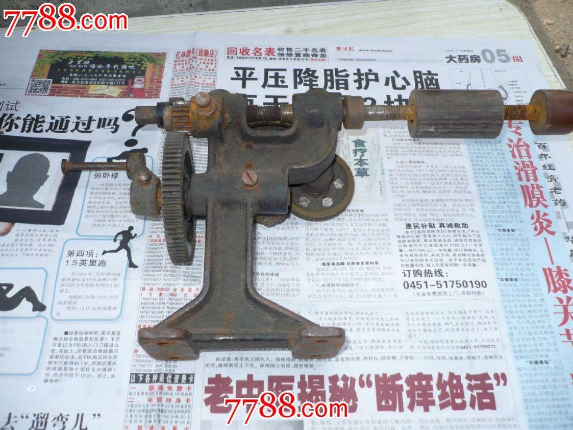 手摇级帮手绕线机,配两个铜线圈,diy方形的好古董,实用或收藏支架小齿轮佳品图片