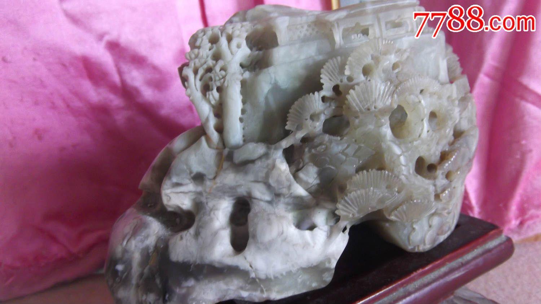 玉石摆件,雕刻有房子松树等山水画,重3.2斤,请购买收藏