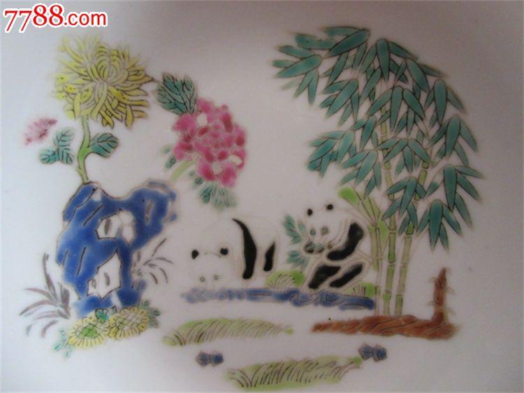 中国景德镇赏盘描金手绘竹子熊猫花卉粉彩盘子瓷盘一个收藏古瓷器