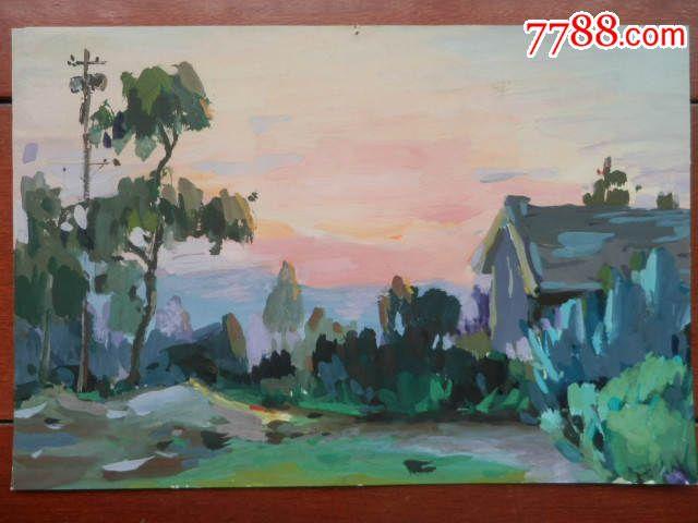 风景水粉画