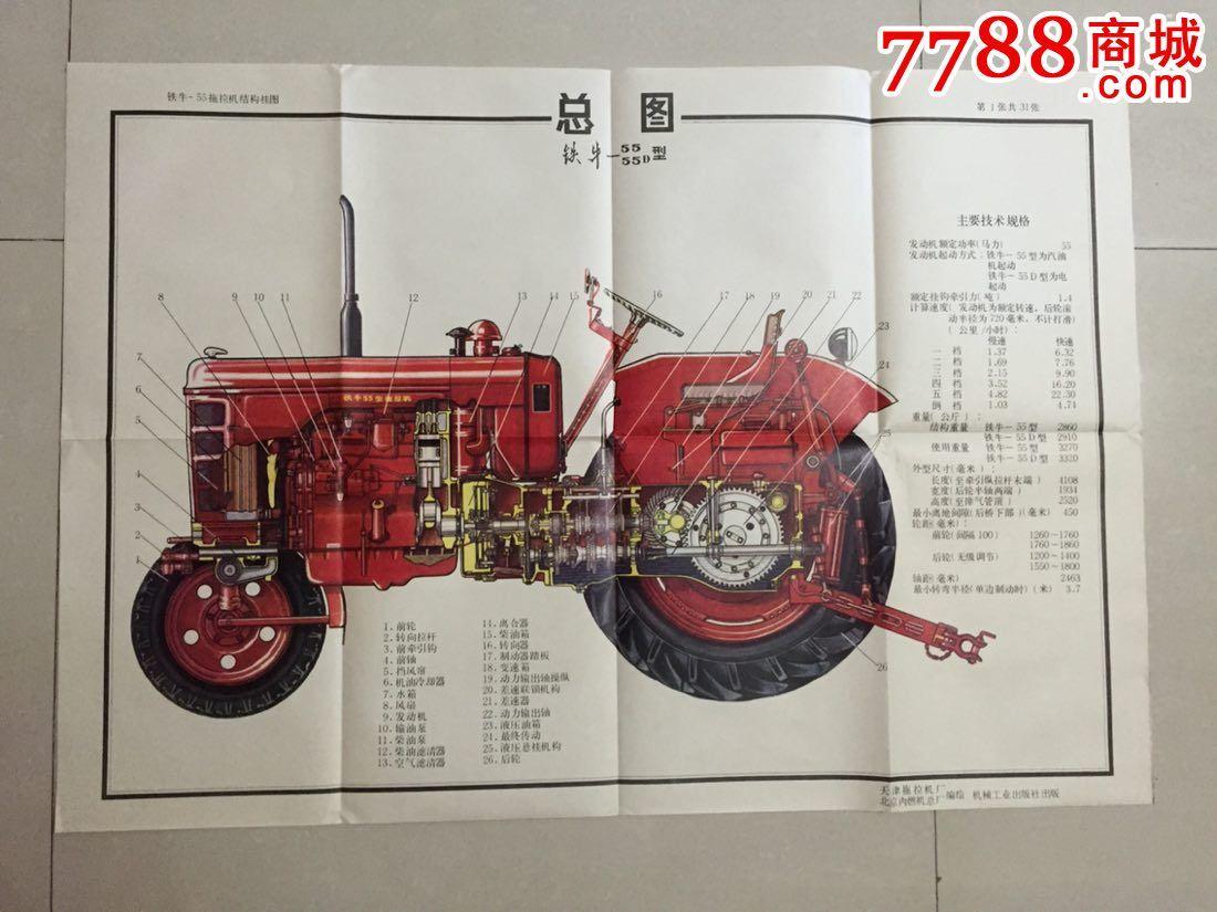铁牛-55型拖拉机结构挂图