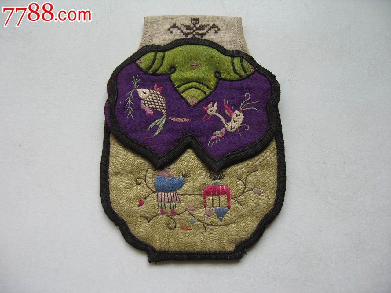 清代绣花人物荷包