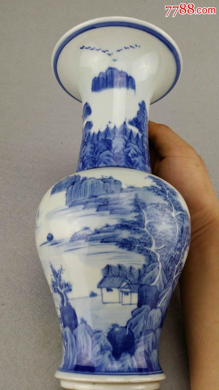 乡下收来的山水风景画青花瓷瓶瓷器