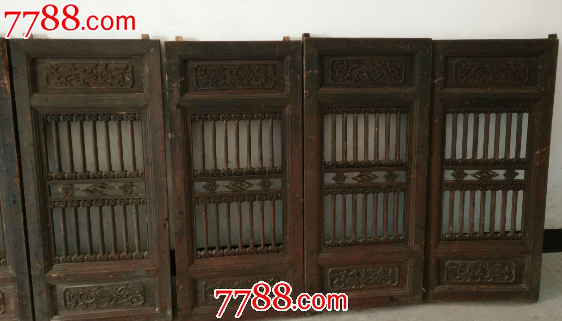 清代老木雕花板老房子窗花板7片