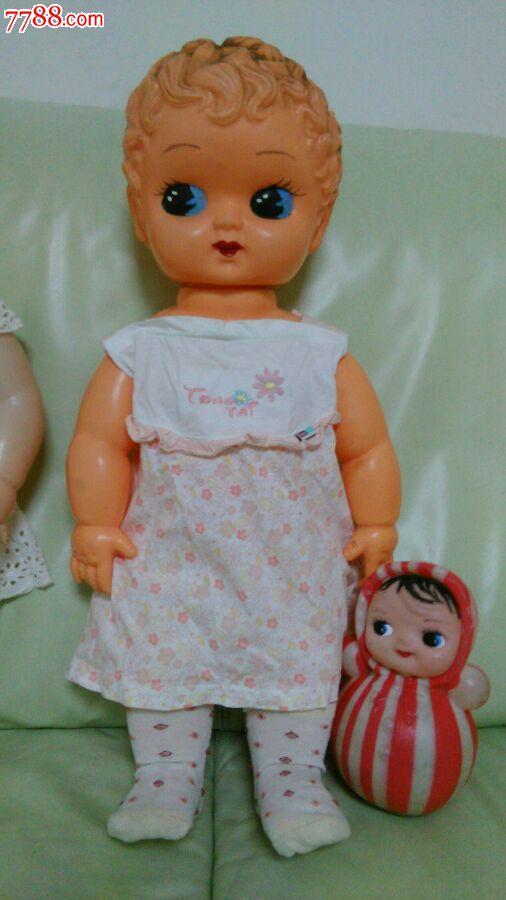 80后怀旧老塑料娃娃男孩大尺寸60cm,苏州工艺玩具厂出品