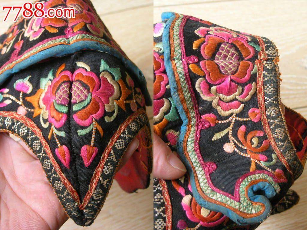 刺绣收藏1510a01-边疆早期民族地区厚底手工绣花彝族鸡冠帽