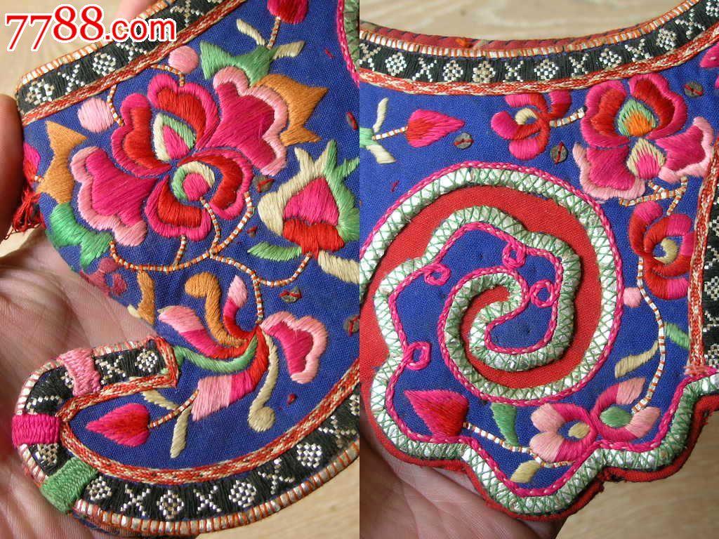刺绣收藏1510a07-边疆早期民族地区厚底手工绣花彝族鸡冠帽