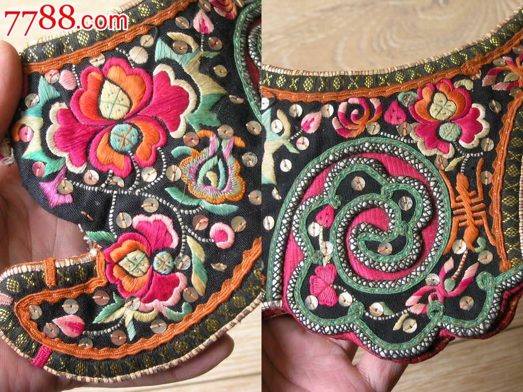 刺绣收藏1510a09-边疆早期民族地区厚底手工绣花彝族鸡冠帽